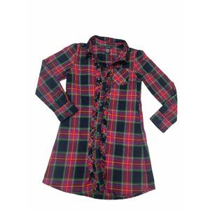 Nautica Size 8 Red Plaid Ruffled Button Up Top
